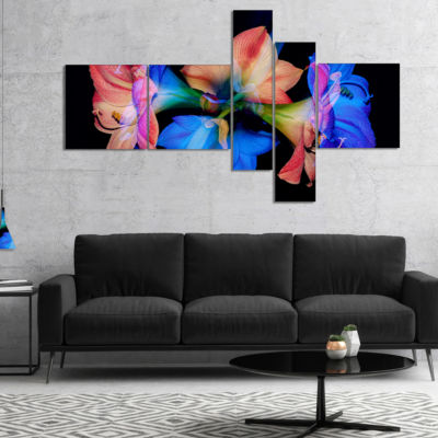 Designart Abstract Blue Red Flower On Black Multipanel Extra Large Floral Wall Art - 5 Panels
