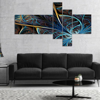 Designart Abstract Brown Fractal Flower MultipanelFloral Art Canvas Print - 5 Panels