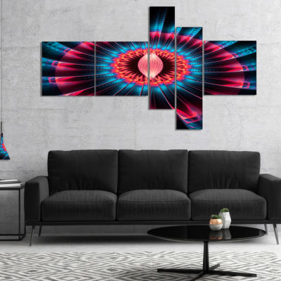 Designart Abstract Colorful Fractal Flower Multipanel Floral Canvas Art Print - 5 Panels