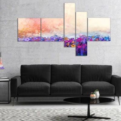 Designart Abstract Flower Watercolor Painting Multipanel Large Floral Canvas Art Print - 5 Panels