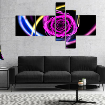 Designart Glowing Purple Neon Rose Multipanel Floral Canvas Art Print - 5 Panels