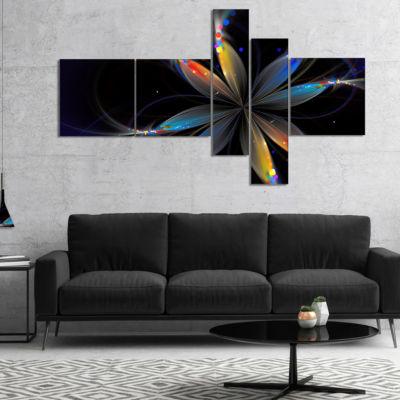 Designart Abstract Fractal Flower On Black Multipanel Floral Canvas Art Print - 4 Panels