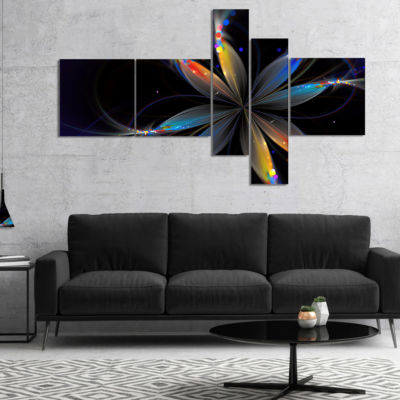 Designart Abstract Fractal Flower On Black Multipanel Floral Canvas Art Print - 5 Panels