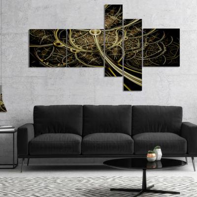 Designart Gold Metallic Fabric Pattern MultipanelAbstract Print On Canvas - 4 Panels