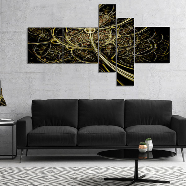 Designart Gold Metallic Fabric Pattern MultipanelAbstract Print On Canvas - 5 Panels