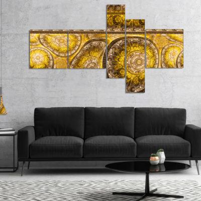 Designart Golden Extraterrestrial Life Cells Multipanel Floral Canvas Art Print - 4 Panels