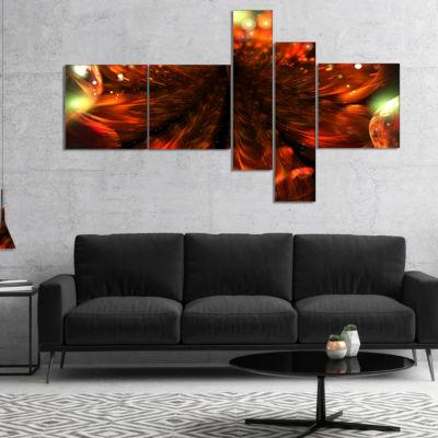 Designart Abstract Fractal Orange Flower Multipanel Floral Canvas Art Print - 4 Panels