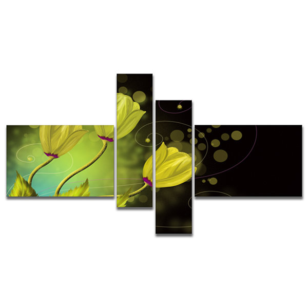 Designart Golden Flowers Greeting Card MultiplanelFloral Art Canvas Print - 4 Panels