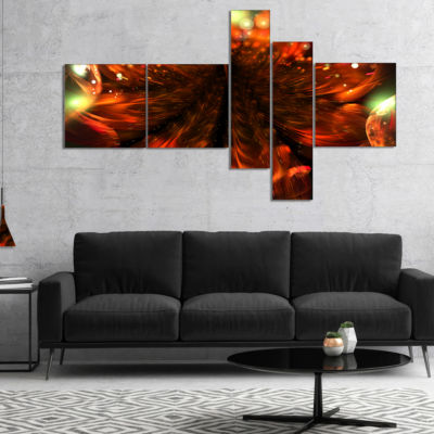 Designart Abstract Fractal Orange Flower Multipanel Floral Canvas Art Print - 5 Panels