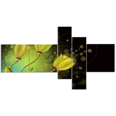 Designart Golden Flowers Greeting Card MultipanelFloral Art Canvas Print - 5 Panels