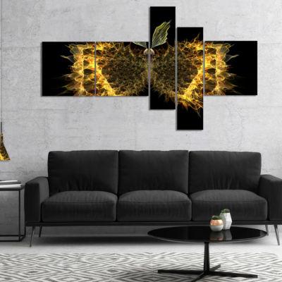 Designart Golden Fractal Butterfly In Dark Multipanel Abstract Canvas Art Print - 4 Panels