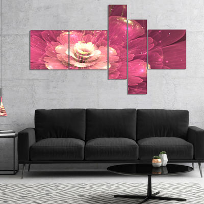 Designart Abstract Fractal Purple Flower Multipanel Floral Art Canvas Print - 5 Panels