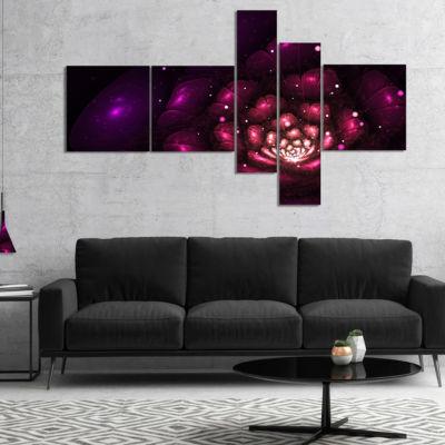 Designart Abstract Fractal Violet Flower Multipanel Floral Art Canvas Print - 4 Panels