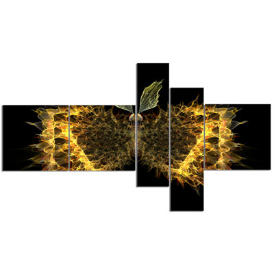 Designart Golden Fractal Butterfly In Dark Multipanel Abstract Canvas Art Print - 5 Panels