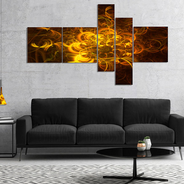 Designart Golden Fractal Flower In Dark Multiplanel Floral Canvas Art Print - 4 Panels