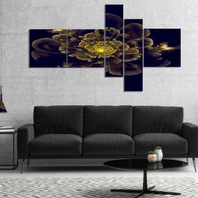 Designart Golden Metallic Fractal Flower Multipanel Abstract Print On Canvas - 4 Panels