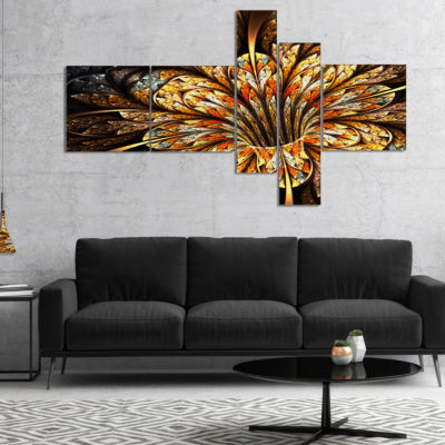 Designart Golden Shiny Fractal Flower MultiplanelFloral Art Canvas Print - 4 Panels