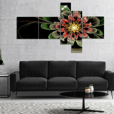Designart Abstract Green Fractal Flower MultipanelFloral Art Canvas Print - 5 Panels