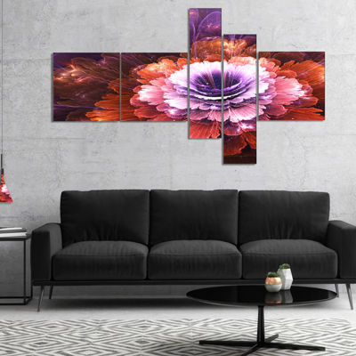 Designart Abstract Pink Fractal Flower MultiplanelFloral Art Canvas Print - 4 Panels