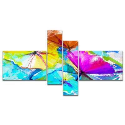 Designart Abstract Spring Flowers Still Life Multipanel Extra Large Floral Wall Art - 4 Panels