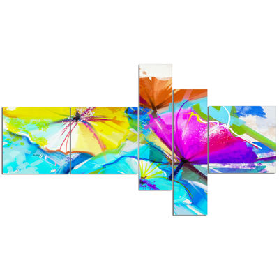 Designart Abstract Spring Flowers Still Life Multipanel Extra Large Floral Wall Art - 5 Panels
