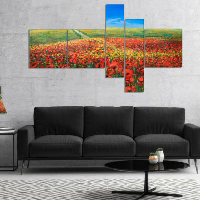 Designart Acrylic Landscape With Red Flowers Multipanel Extra Large Floral Wall Art - 5 Panels