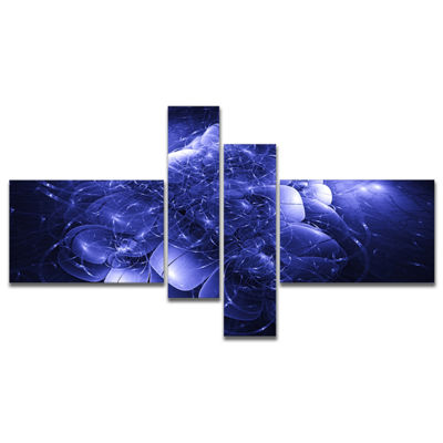 Designart Alien Mystical Flower Blue Multipanel Floral Art Canvas Print - 4 Panels