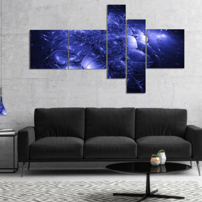 Designart Alien Mystical Flower Blue Multipanel Floral Art Canvas Print - 5 Panels