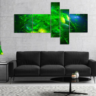 Designart Alien Mystical Flower Green MultiplanelFloral Art Canvas Print - 4 Panels