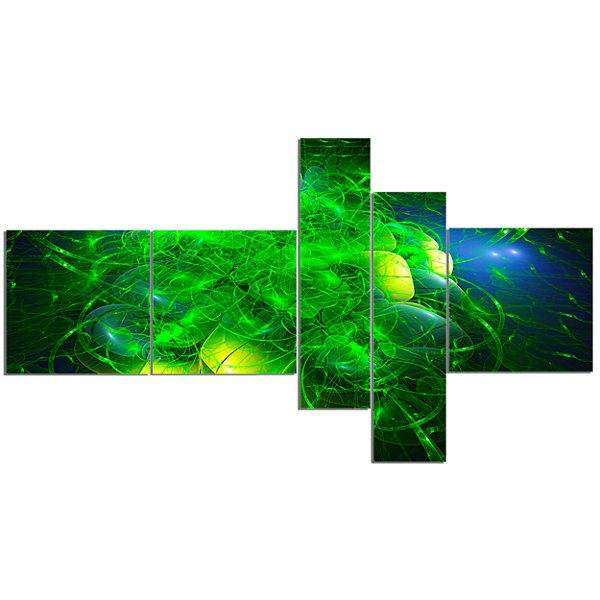 Designart Alien Mystical Flower Green MultiplanelFloral Art Canvas Print - 5 Panels