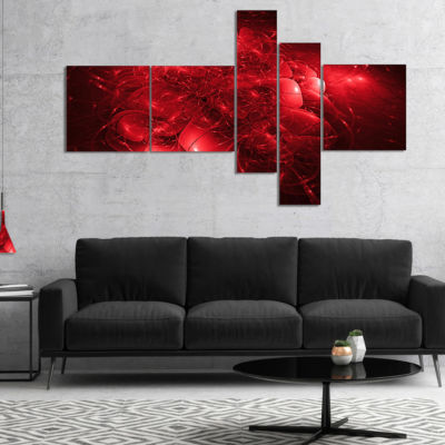 Designart Alien Mystical Flower Red Multipanel Floral Art Canvas Print - 5 Panels