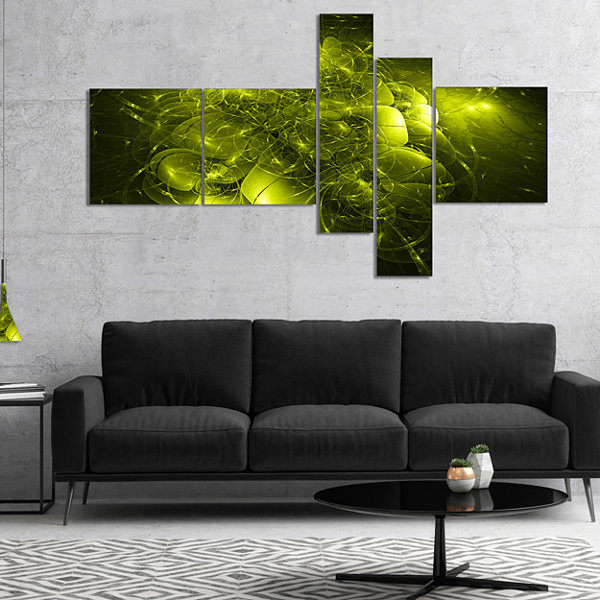 Designart Alien Mystical Flower Yellow MultiplanelFloral Art Canvas Print - 5 Panels