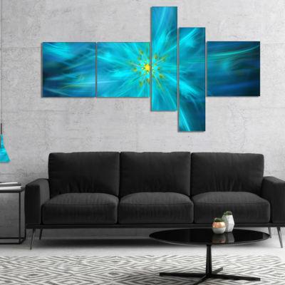 Designart Amazing Dance Of Blue Petals MultiplanelFloral Canvas Art Print - 5 Panels