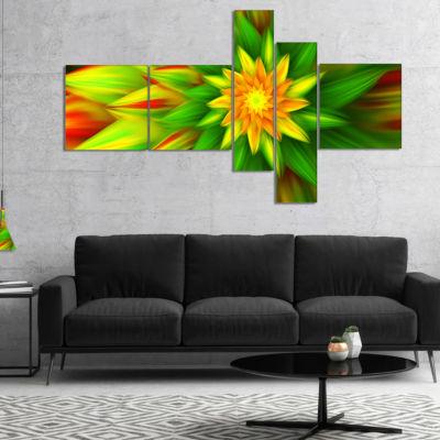 Designart Amazing Dance Of Green Petals Multiplanel Floral Canvas Art Print - 5 Panels