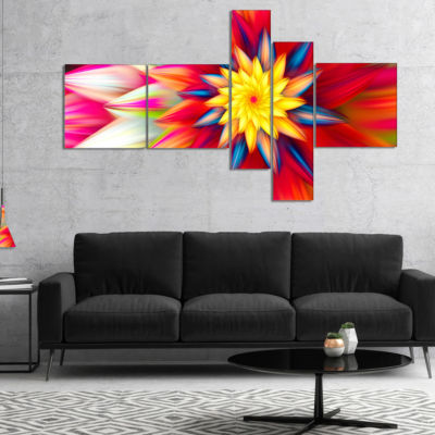 Designart Amazing Dance Of Red Petals MultiplanelFloral Canvas Art Print - 5 Panels