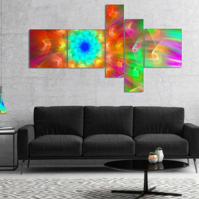 Designart Amazing Multi Color Petals Dandelion Multipanel Floral Canvas Art Print - 5 Panels