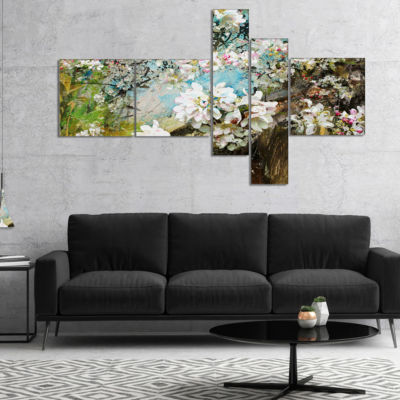 Designart Apple Blossoms With White Flowers Multipanel Floral Art Canvas Print - 5 Panels