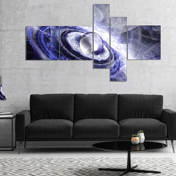 Designart Beautiful Blue Flying Saucer MultiplanelFloral Canvas Art Print - 4 Panels