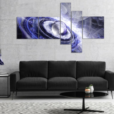 Designart Beautiful Blue Flying Saucer MultipanelFloral Canvas Art Print - 5 Panels
