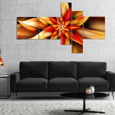 Designart Beautiful Brown Flower Petals Multiplanel Floral Canvas Art Print - 5 Panels
