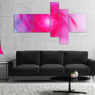 Designart Beautiful Fractal Pink Whirlpool Multipanel Floral Canvas Art Print - 5 Panels