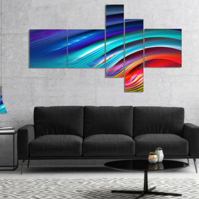 Designart Beautiful Fractal Rainbow Waves Multipanel Floral Canvas Art Print - 5 Panels