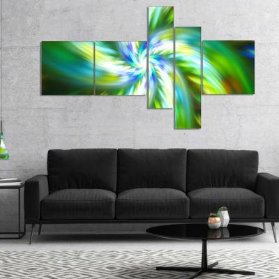 Designart Beautiful Green Flower Petals Multiplanel Floral Canvas Art Print - 5 Panels