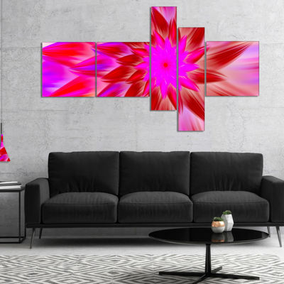 Designart Beautiful Pink Flower Petals MultiplanelFloral Canvas Art Print - 5 Panels