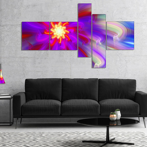 Designart Beautiful Purple Flower Petals Multipanel Floral Canvas Art Print - 4 Panels