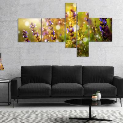 Designart Beautiful Purple Wild Flowers Multiplanel Floral Canvas Art Print - 5 Panels