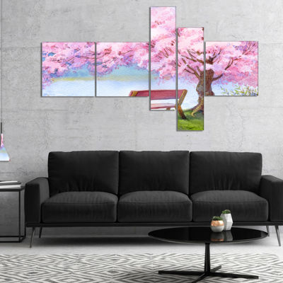Designart Bench Under Flowering Peach Tree Multipanel Floral Art Canvas Print - 5 Panels