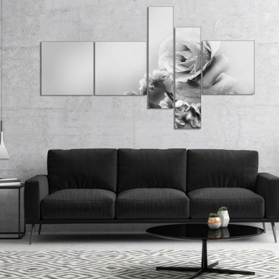 Designart Black And White Rose In Spring. Multipanel Floral Canvas Art Print - 4 Panels