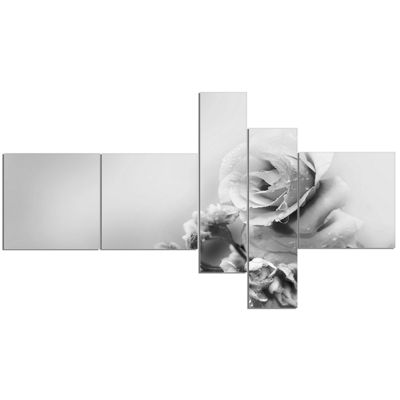 Designart Black And White Rose In Spring. Multipanel Floral Canvas Art Print - 5 Panels