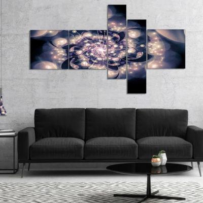 Designart Black White Fractal Flower In Dark Multipanel Floral Canvas Art Print - 4 Panels